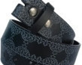 "Black Belt Strap Embossed Tooled Style Design- Snap On -Men Women- 1.5"" - 26 28 30 32 33 34 35 36 37 38 39 40 42 43 44 45 - 25+ STYLES AVAIL"