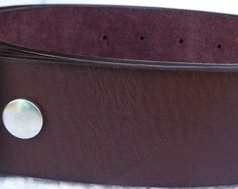 "Beautiful Brown Leather Belt- Snap On Strap- 1.5"" 38mm -Removable- Supple- Men Women- 28 30 32 34 36 38 40 42 44 46 - 25+ OTHER STYLES AVAIL"