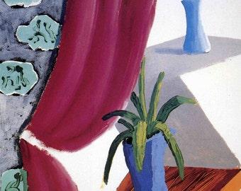 Art Print - Still Life with Magenta Curtain - LA County Museum of Art - Exhibit Poster Ad - Unframed - David Hockney California