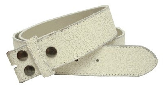 "Distressed Leather Belt Strap - Off White Crackle Finish Cream Ivory - Snap On- 1.5"" - Mens Womens Size XS 28 29 30 - 25+ OTHER Styles Avail"