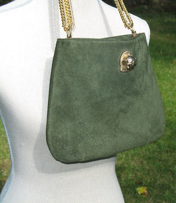 COUGAR HEAD Handbag Purse Designer Vintage GREEN Suede Chain Ruth Saltz