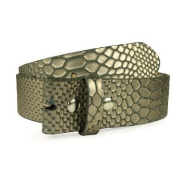 Beautiful Snakeskin Belt Strap Womens PEWTER EMBOSSED PATTERN small 30 31 32 last one
