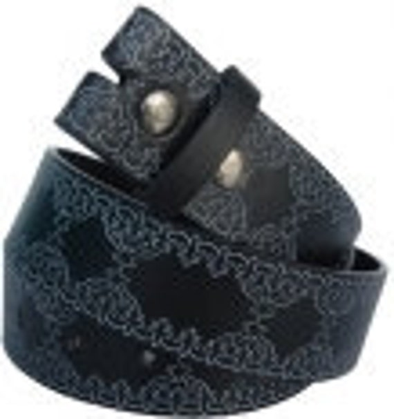 """Black Belt Strap Embossed Western Tooled Style Design- Snap On -Men Women- 1.5"""" - XL 38 39 40 - 20+ Other Styles Avail"""