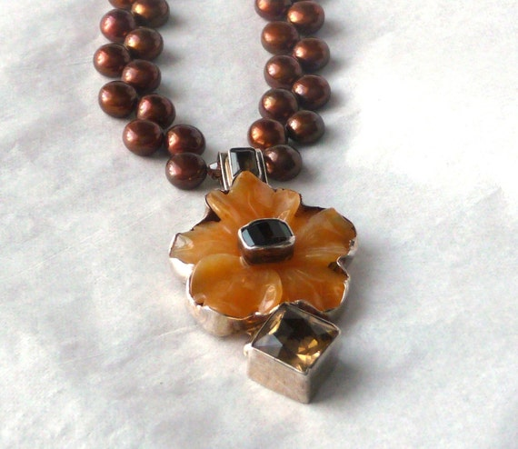 reserved FOR mELANIE FLOWER PENDANT Amy Kahn Russell Gemstone Tropical Sterling Brown Amber Yellow Orange Chalcedony Topaz