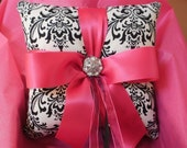 Damask Ringbearer Pillow Black White Madison Fuchsia Hot candy Pink or your choice of ribbon color