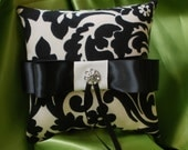 RING PILLOW Damask ring pillow Ringbearer Black Ivory Waverly Onyx Your Choice of Accent Color