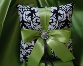 DANDY DAMASK RINGBEARER  Pillow  Black White Lime Chartreuse Wedding Ring Pillow
