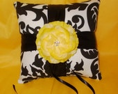 DAMASK RINGBEARER PILLOW Amsterdam Black and White Ring Pillow Yellow Flower Black Sash Ribbon or Color of Choice