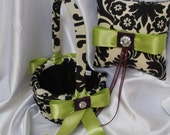 DAMASK BASKET, PILLOW Ringbearer Ring Pillow and Flower Girl Basket Waverly onyx Black on Ivory with Chartreuse Apple Green, Eggplant Ribbon