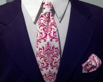 EXTRA LONG TIE Set--Men's Damask Tie and Pocket Square Hanky Set- Madison Red White Big and Tall Wedding Party Necktie