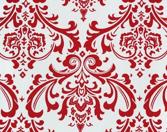 "SAMPLE SALE--RUNNER White on Red Damask Table Runner  Traditions  47"" only one"