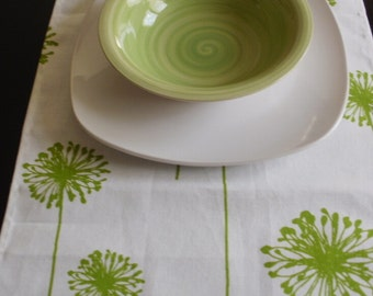 DANDELION TABLE RUNNER Choose size  Lime green chartreuse flower dandelions on white and lime dandelions table runner