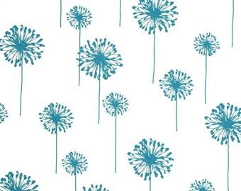 SAMPLE SALE RUNNER Teal turquoise dandelions on off white flower floral table runner Rpst