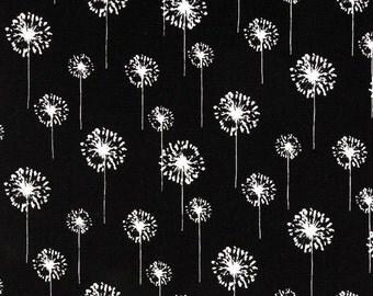 "SALE 90"" TABLE RUNNER Was 26.00 white  dandelions on black background flower floral table runner Last ones"
