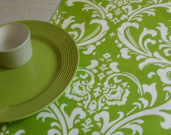 LIME DAMASK TABLE Runner,  Chartreuse Damask Table Runners,  Lime Green Ossyr Any Print in Shop