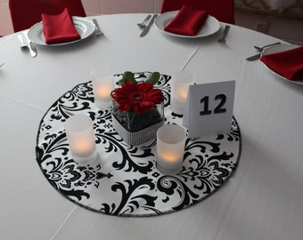 "DAMASK TABLE ROUND  for Centerpieces, cotton damask table rounds,  Multiple Colors 15-24"", Damask wedding table decor,  bridal center"