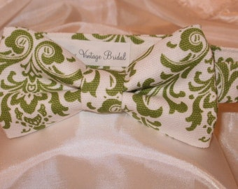 ALL SIZES DAMASK Bowtie or Pocket Square Hanky Tie Men Boys Toddler Lime Chartreuse and white Wedding Party Tie Groomsmen Ringbearer