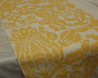 YELLOW DAMASK LINENS- Table runners, napkins,  centerpiece rounds and squares, Yellow and White Amst,  Damask table runners
