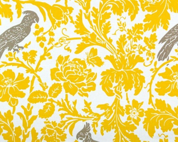 """TABLE SQUARE Damask Table Square 20"""" for centerpiece  sun yellow on white with taupe bird"""