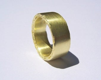 18kt Yellow Gold Rough Edge Ring 8mm width