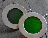 Round Silver Earrings with Green Cold Enamel Inset