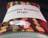 6 pack reusable produce bags with fruit salad storage bag