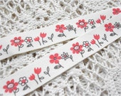 1.5cm x 1yard (red flower) cotton sewing tape trim ribbon label (S80)