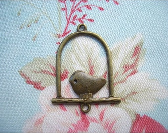 3pcs 24x31mm antique bronze bird cage connectors charms pendants (J30)