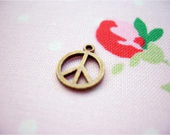 10pcs 10x12mm antique bronze peace symbol charms pendants (J190)