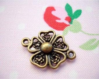 5pcs 15x21mm antique bronze flower connectors charms pendants (J200)