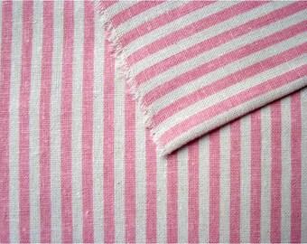 2345 - Japanese Pink Stripes Cotton Linen Blend Fabric - 57 Inch (Width) x 1/2 Yard (Length)