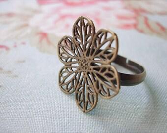 5pcs antique bronze filigree flower adjustable ring bases (J177)