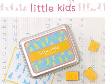 Easy DIY 16pcs Rubber Stamps Tin Case Collection (P7.6 - Little Kids)