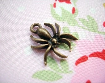10pcs 14x17.5mm antique bronze spider charms pendants (J224)