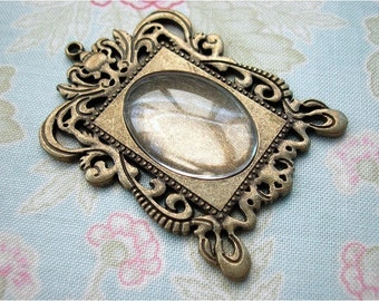 2pcs 37x46mm antique bronze frame filigree cameo bases bezels settings pendants with FREE 18x25mm glass cabochons (J149)