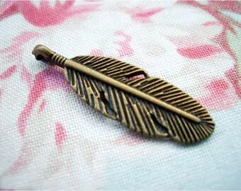 8pcs 9x30mm antique bronze feather charms pendants (J257)