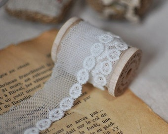 2.3cm x 1yard (offwhite) cotton net embroidery lace trim (S283)
