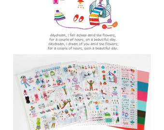 Set of 7 Sheets Transparent Deco Stickers (P59.2 - Little Daily)