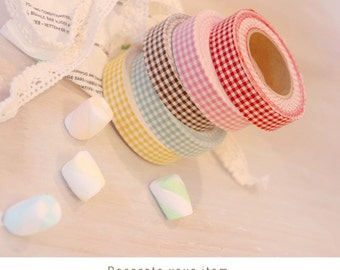 Cotton Fabric Adhesive Deco Tape (P72.01 - Red & White Gingham Check)