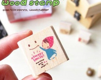 Girl Wooden Rubber Stamp  (P103.4 - Always Smile)