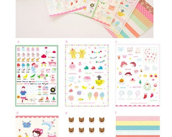 Set of 6 Sheets Sweet Day Transparent Deco Stickers (P137)