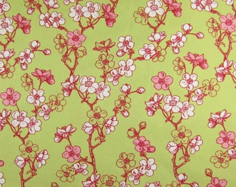 2592 - Peach Blossom Flowers Cotton Fabric - 43 Inch (Width) x 1/2 Yard (Length)