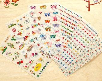Set of 6 Sheets Transparent Cat Deco Stickers (P141)