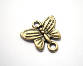 11pcs 14x13.5mm antique bronze butterfly charms pendants connectors (J299)