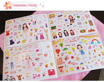 Set of 4 Sheets Lovely Girl Transparent Deco Stickers (P150)