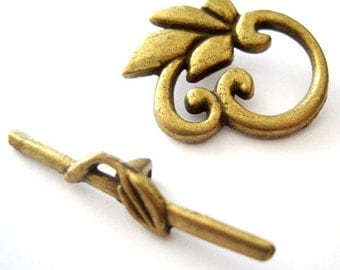 2sets 24x19mm antique bronze leaf toggle clasps (J333)
