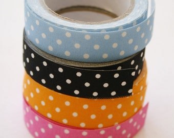 Cotton Fabric Adhesive Deco Tape (P72.09 - White on Pink Polka Dot)
