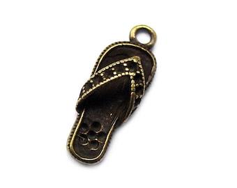 6pcs 10x27mm antique bronze flip-flops charms pendants (J354)