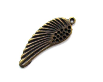4pcs 11.5x33mm antique bronze wing charms pendants (J387)