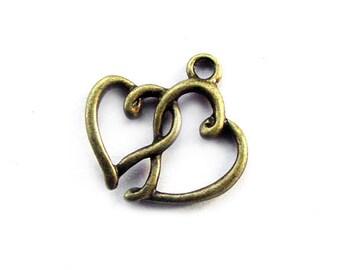 8pcs 19x19mm antique bronze heart charms pendants (J407)